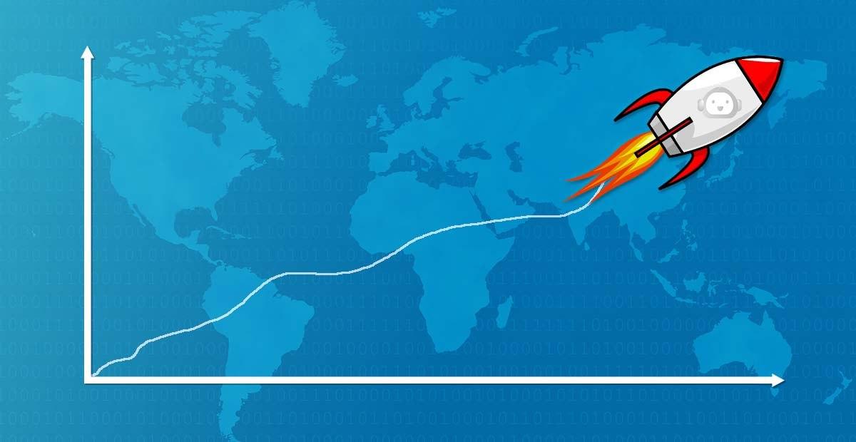 cohete, marketing, gráfico, mundo, azul,