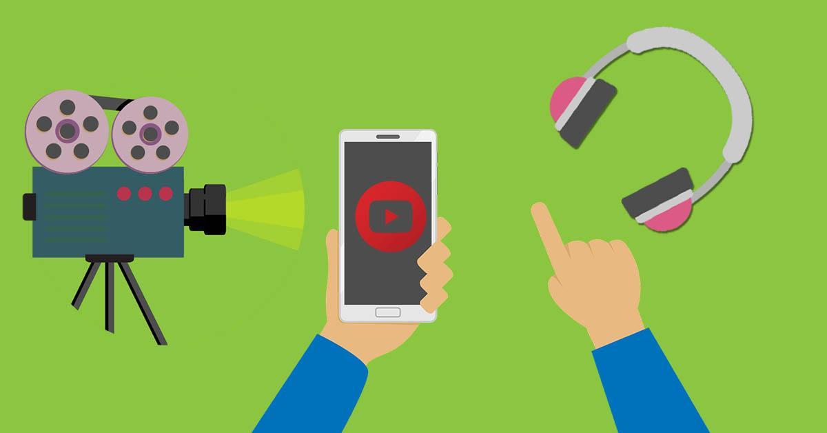 documentales, cámara, teléfono, auriculares, videos