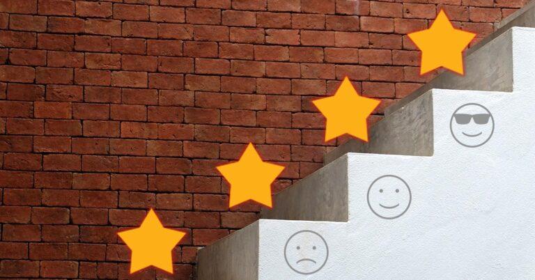 escalera, estrellas, satisfacción,