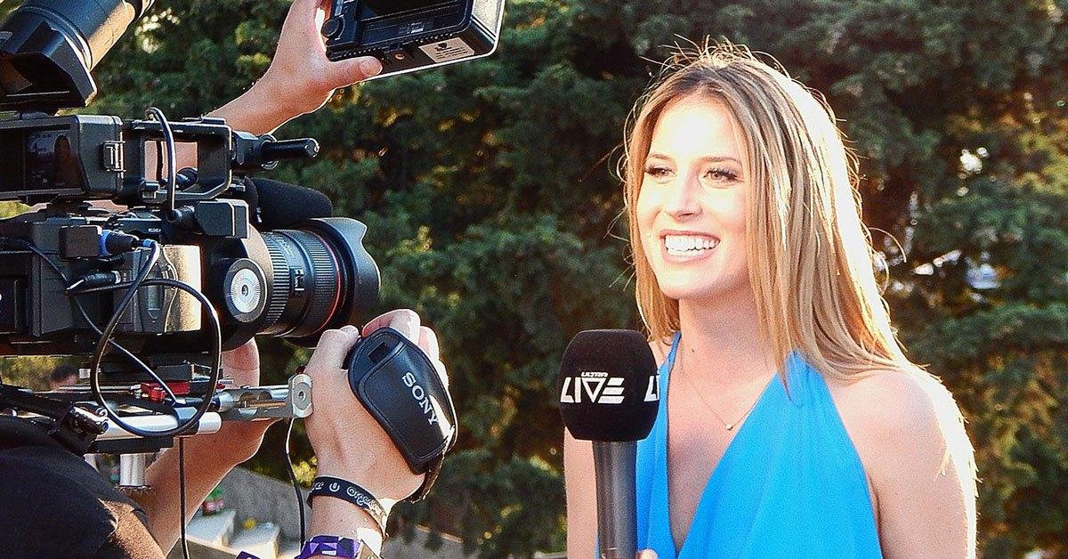preiodista, cámara, reportera, chica joven
