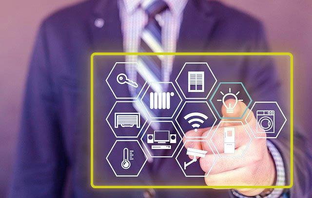 iconos, tecnología, negocios, transformación digital