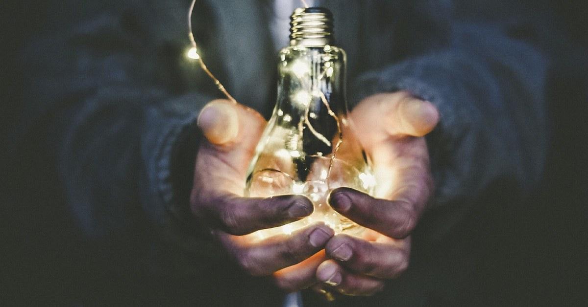 bombilla, idea, manos, negocios, luz, trabajo, lider