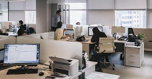 oficina, empresa, ordenador, trabajo, impresora, compañeros