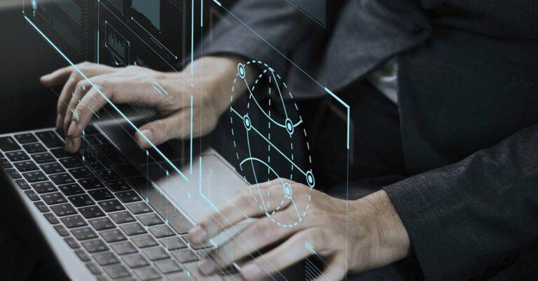 ordenador, tecnología, software, manos, mundo conectado, transformación digital